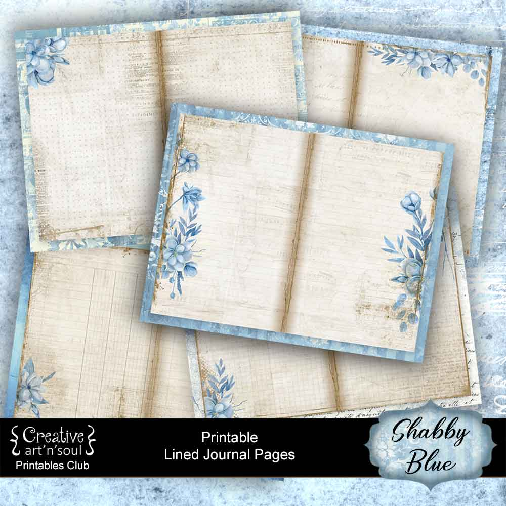 Shabby Blue Journal Pages