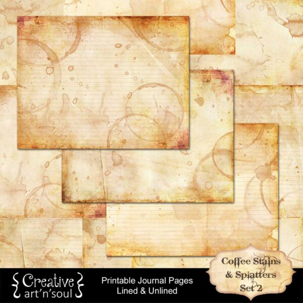 Coffee Stains and Splatters Printable Journal Pages
