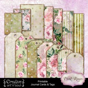 Pink Roses Printable Journal Cards and Tags