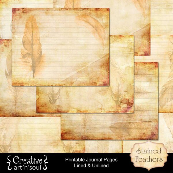 Stained Feathers Printable Journal Pages
