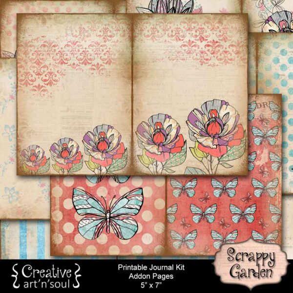Scrappy Garden Printable Addon Journal Pages