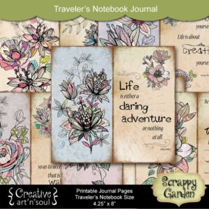Scrappy Garden Traveler's Notebook Printable Quote Pages