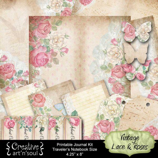 Vintage Lace & Roses Traveler's Notebook Printable Journal