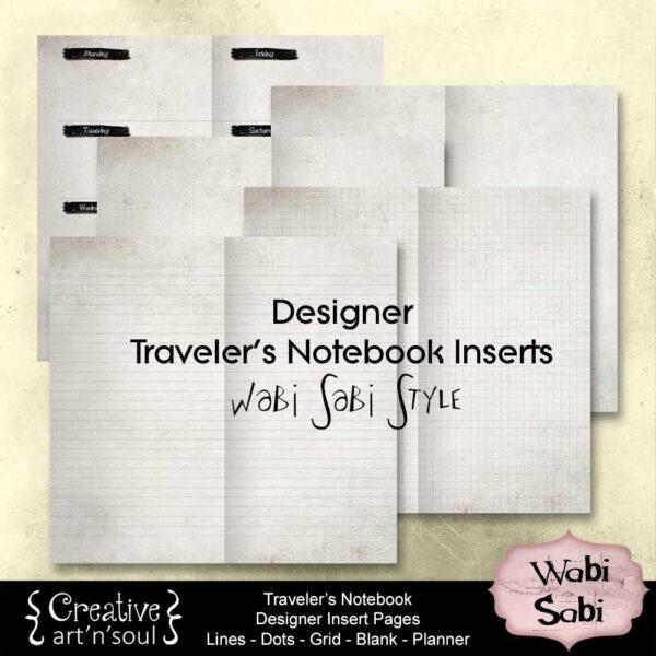 Wabi Sabi Traveler's Notebook Insert Pages Set