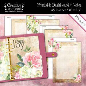 Choose Joy A5 Planner Dashboard + Notes