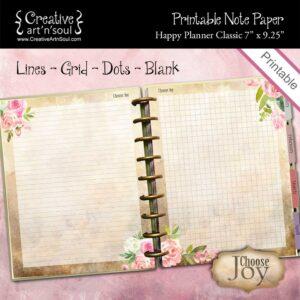 Choose Joy Happy Planner Classic Printable Note Paper