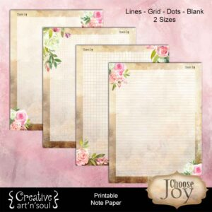 Choose Joy Printable Note Paper
