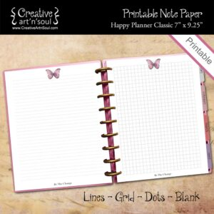 Printable Note Paper, Happy Planner Classic, Be The Change