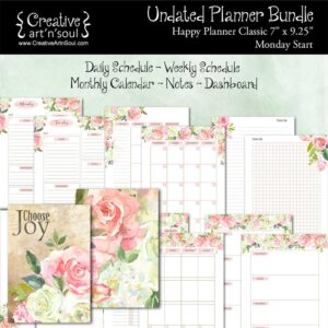 Printable Planner Bundle, Happy Planner Classic, Monday Start, Choose Joy