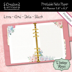 Printable Note Paper, A5 Planner, Vintage Roses