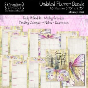 Printable Planner Bundle, A5 Planner, Monday Start, Spread Your Wings & Fly