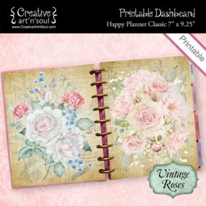 Printable Dashboard, Happy Planner Classic, Vintage Roses