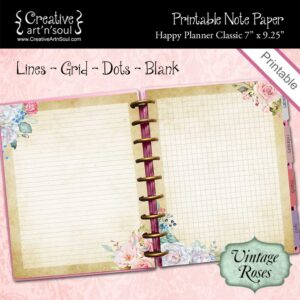 Printable Note Paper, Happy Planner Classic, Vintage Roses