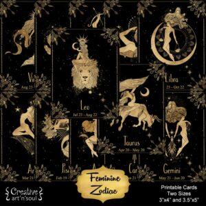 Feminine Zodiac Printable Cards
