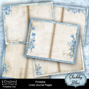 Shabby Blue Printable Junk Journal Pages