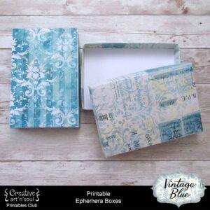 Vintage Blue Printable Ephemera Boxes