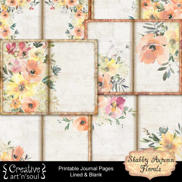 Shabby Autumn Florals Printable Journal Pages