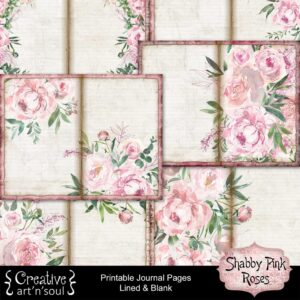 Shabby Pink Roses Printable Journal Pages