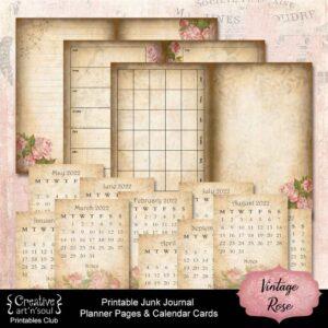 Vintage Rose Printable Planner Pages and Calendar Cards