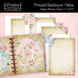Vintage Roses Happy Planner Classic Dashboard + Notes