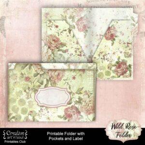 Wild Rose Printable Folder with Pockets