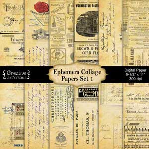 Ephemera Collage Set 1 Printable Paper Pack 8.5x11