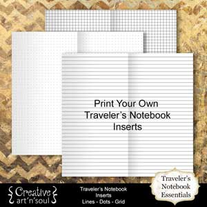 Printable Traveler's Notebook Essentials - Insert Pages Lines|Dots|Grid + Bonus Covers