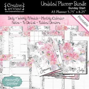 Butterfly Garden Undated Printable Planner Bundle Size A5 Sun Start