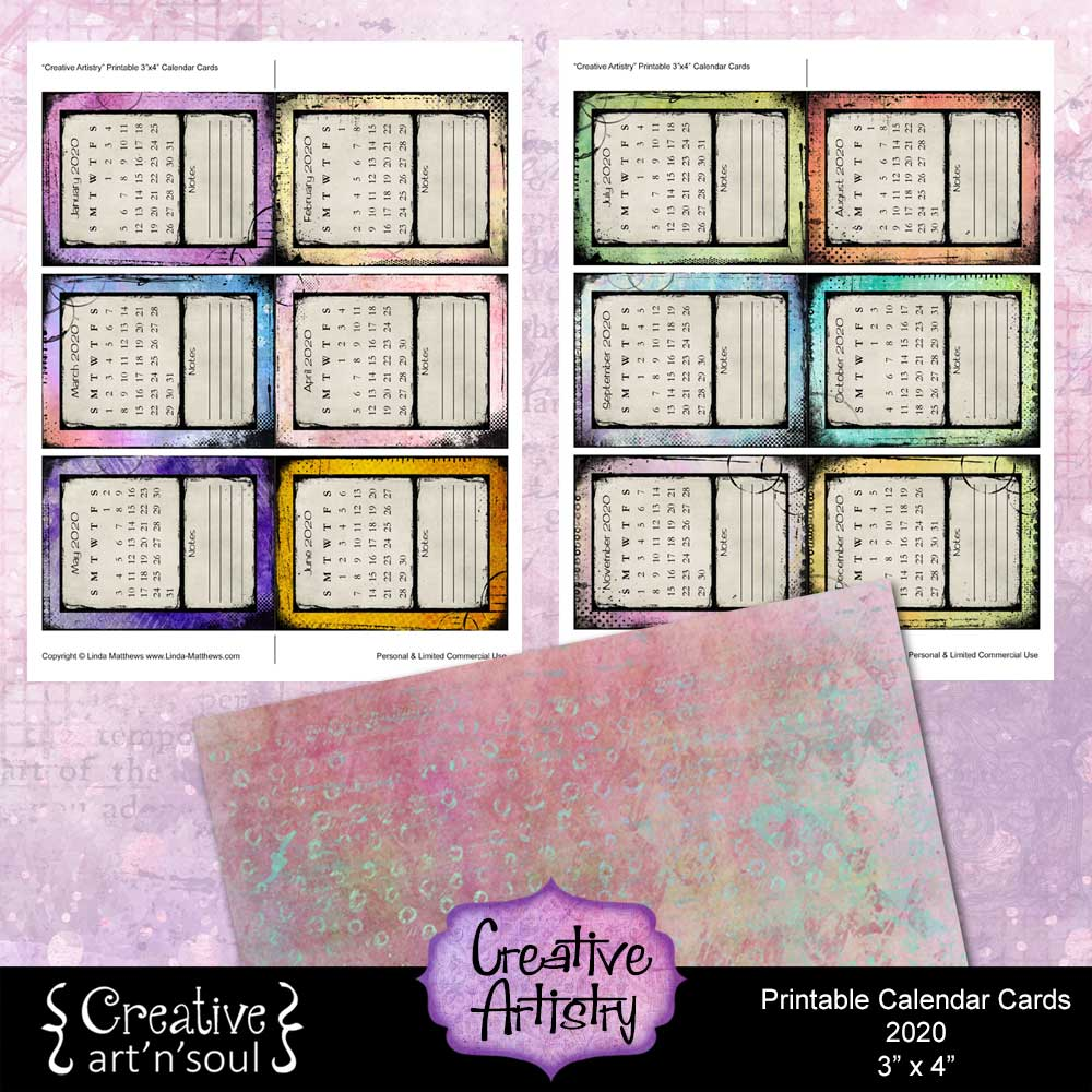 Creative Artistry Printable Calendar Cards