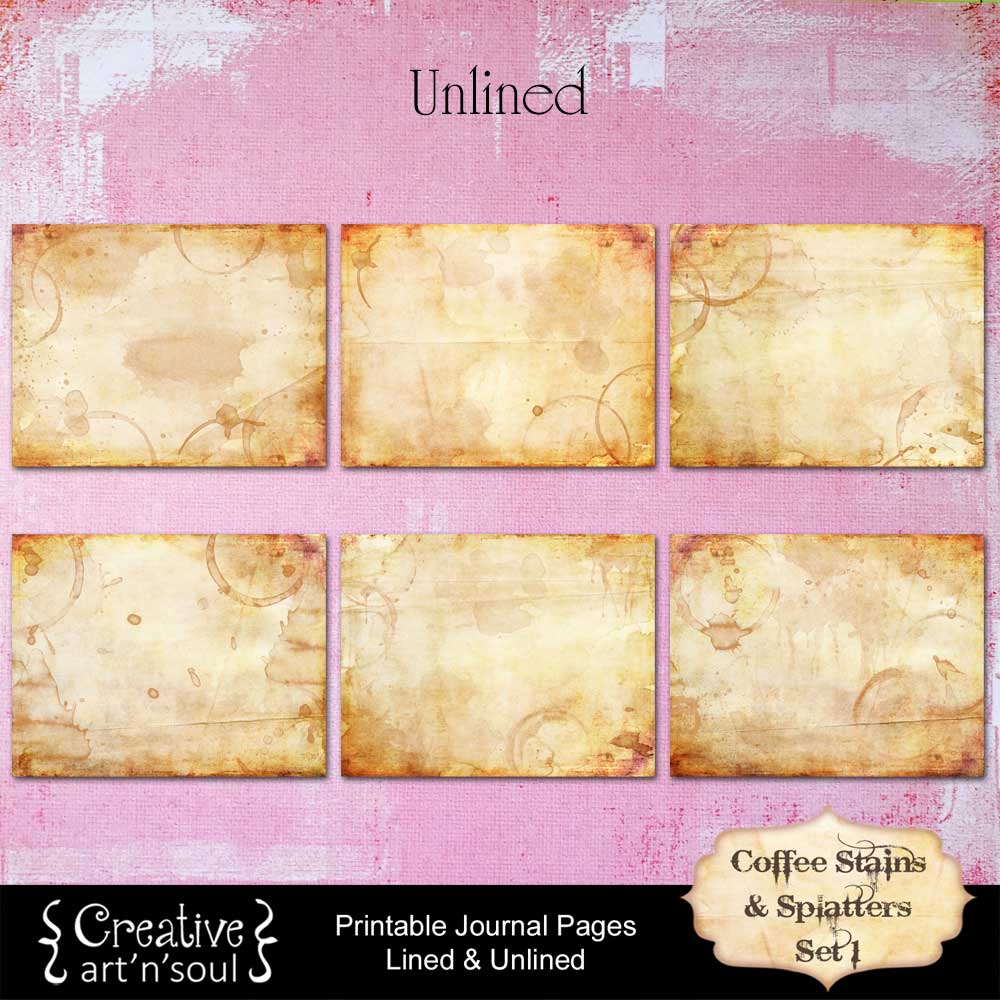 Coffee Stains and Splatters Printable Journal Pages Set 1