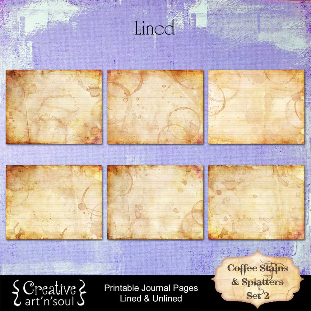 Coffee Stains and Splatters Printable Journal Pages Set 2