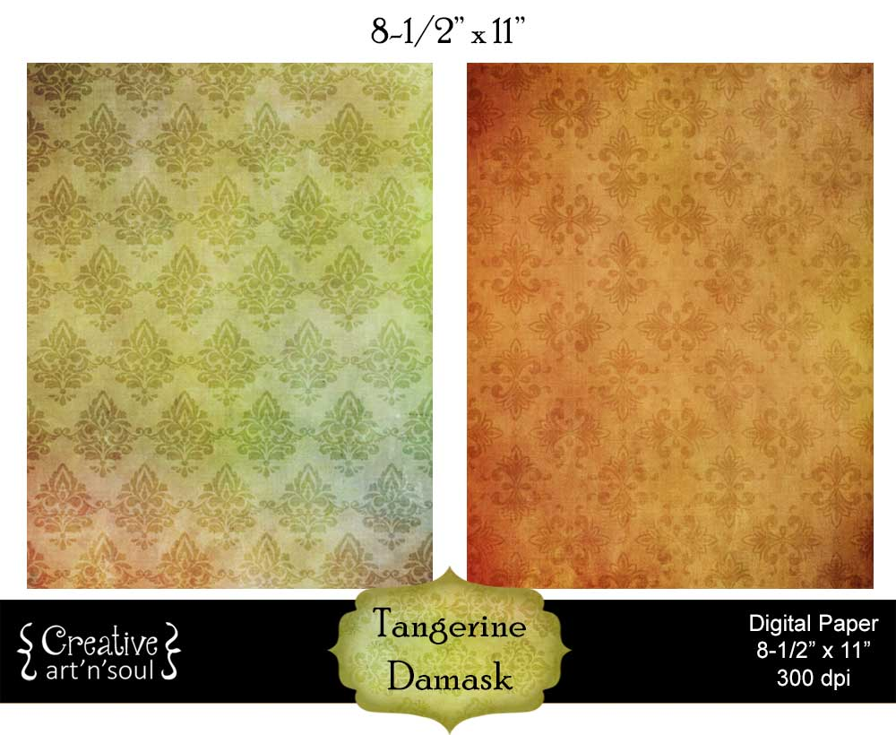 Tangerine Damask Digital Paper Pack 8.5x11