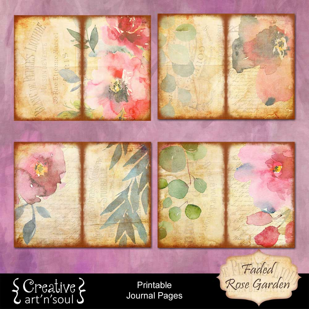 Faded Rose Garden Printable Journal Pages