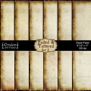 Faded & Tattered Set 2 Printable Paper Pack