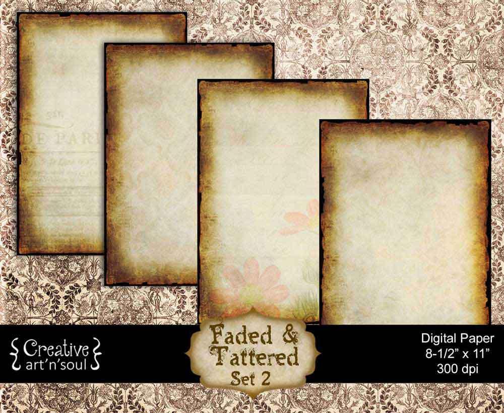 Faded & Tattered Set 2 Digital Paper Pack 8.5x11