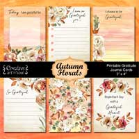 Printable Gratitude Journal Cards, Autumn Florals