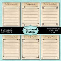 Printable Gratitude Journal Cards, Distressed Vintage
