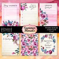 Printable Gratitude Journal Cards, Summer Florals