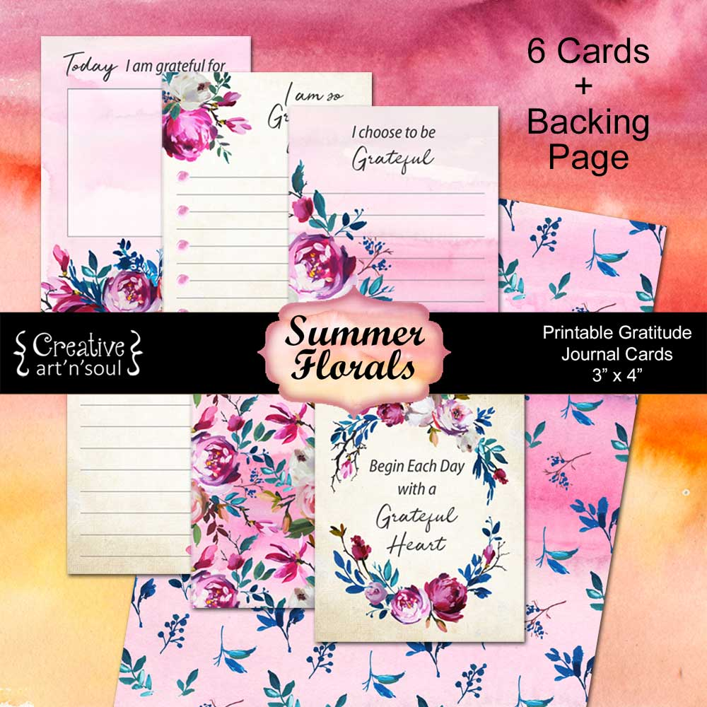 Printable Gratitude Cards, Summer Florals