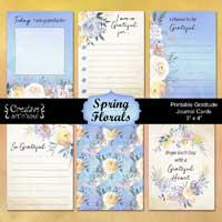 Printable Gratitude Journal Cards, Spring Florals