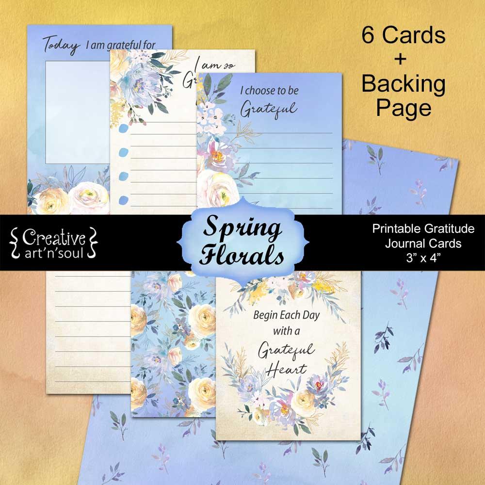 Printable Gratitude Cards, Spring Florals