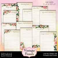 Vintage Florals Printable Goal Cards