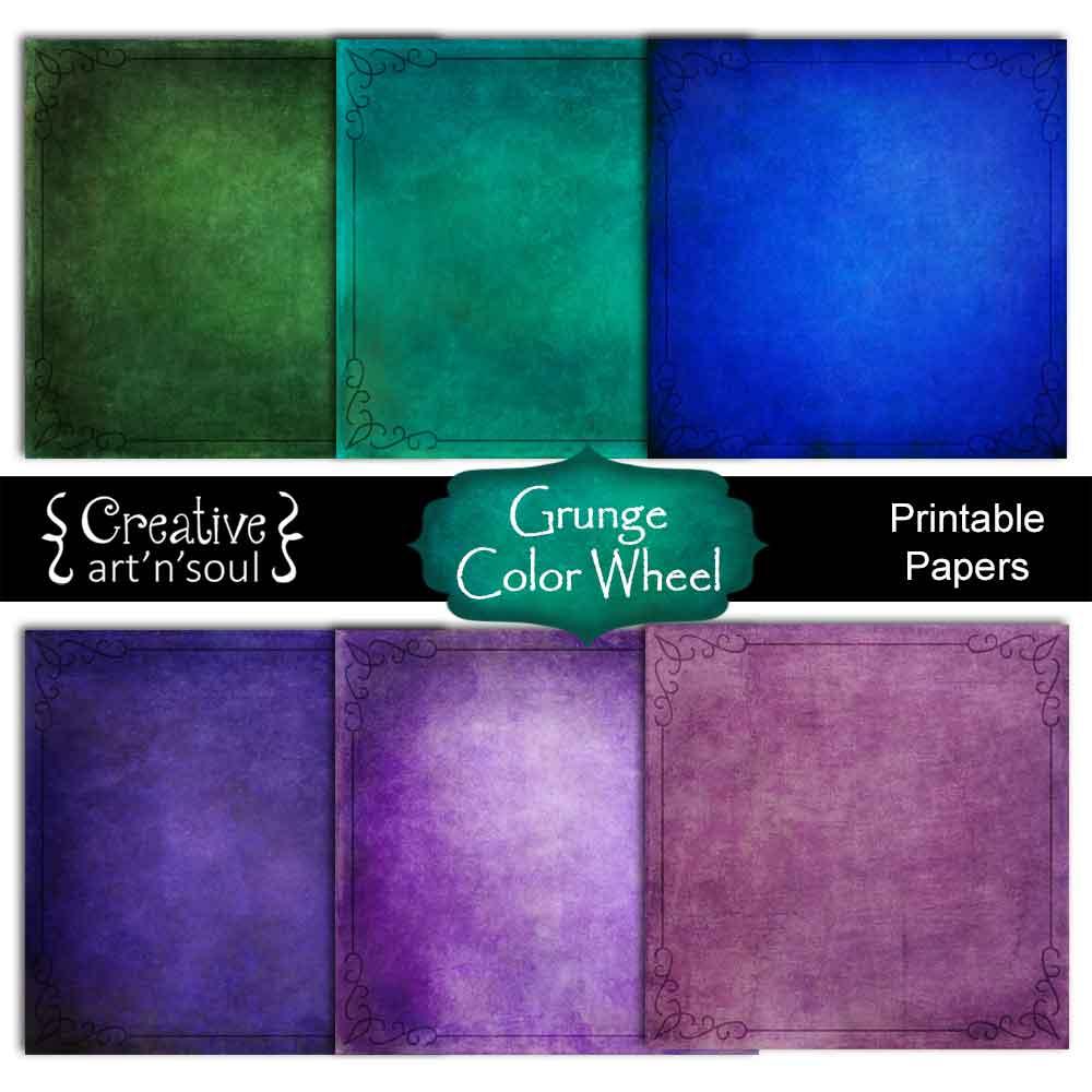 Grunge Color Wheel Digital Paper Pack 12x12