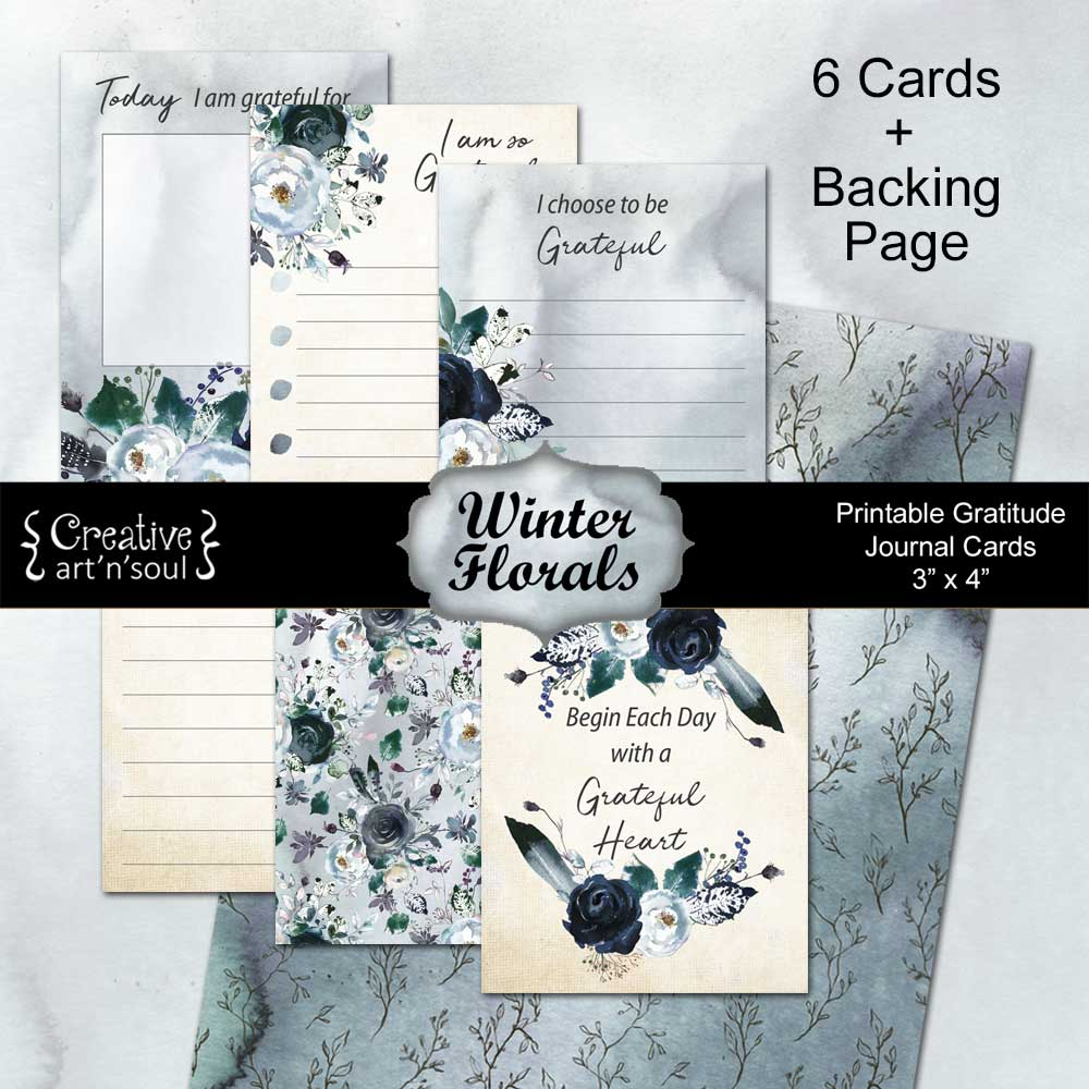 Printable Gratitude Cards, Winter Florals
