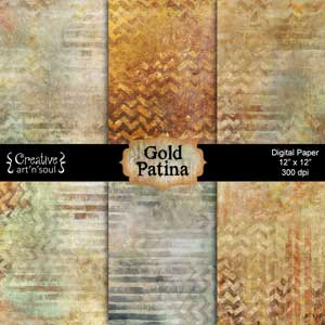 Gold Patina Digital Paper Pack 12