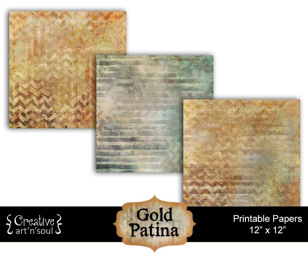 Gold Patina Digital Paper Pack1