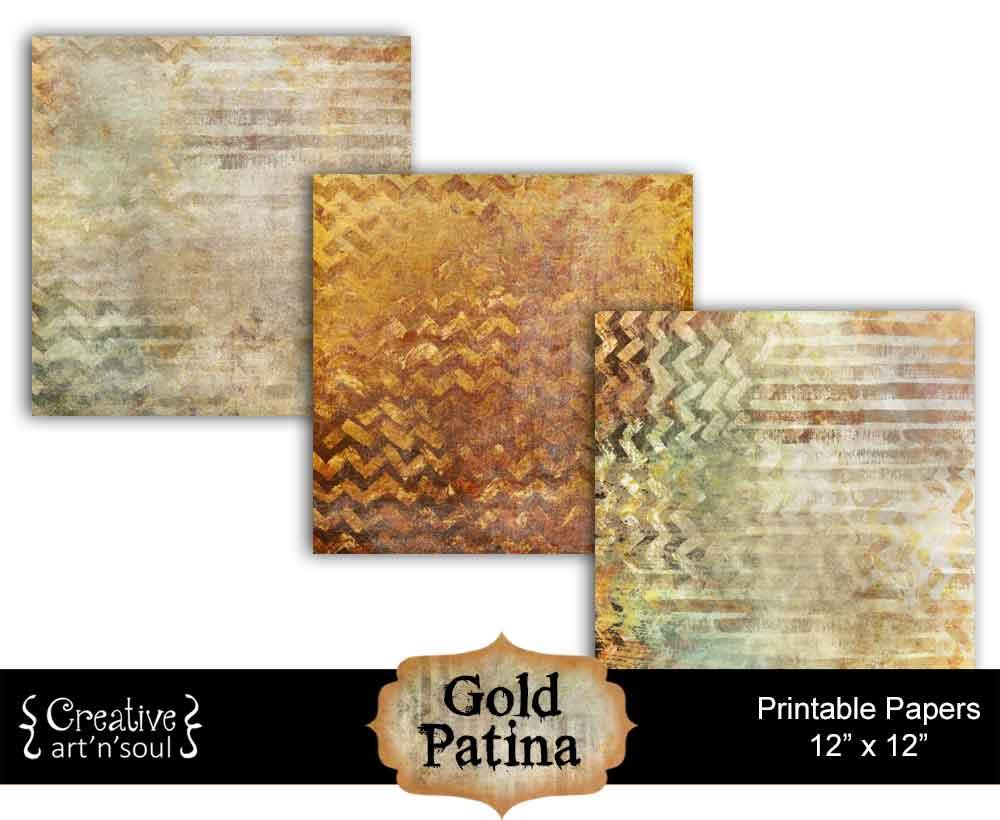 Gold Patina Digital Paper Pack
