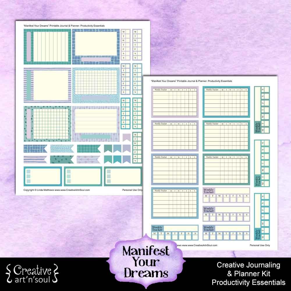 Manifest Your Dreams Printable Journal Planner Kit: Productivity Essentials