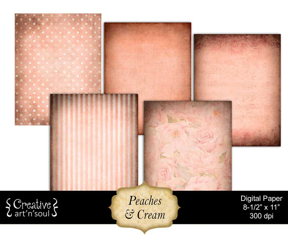 Peaches & Cream Printable Paper Pack 8.5x11