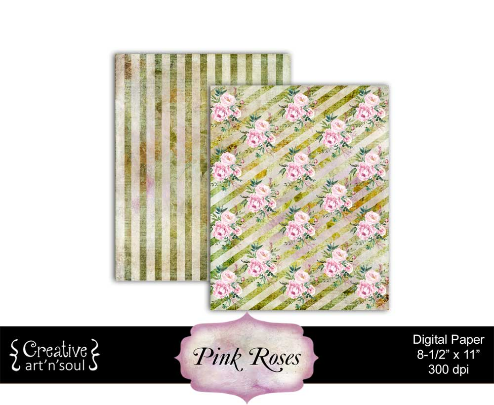 Pink Roses Printable Paper Pack 8.5x11